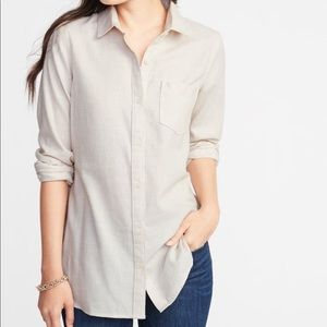 Relaxed Twill Tunic Shirt for Women